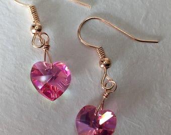 Swarovski Pink heart Earrings