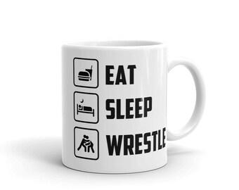 Eat Sleep Wrestle Mug Funny Wrestler Coffee Mug Wrestling Mug Gift for Wrestler fan Wrestling lover cup Wrestling Coach Trainer Mugs