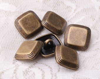 bronze buttons metal buttons square buttons 10pcs 15*7mm shank buttons for coat sweater