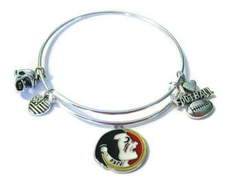 Florida Seminoles 4-Charm Silver Plated Bangle Bracelet