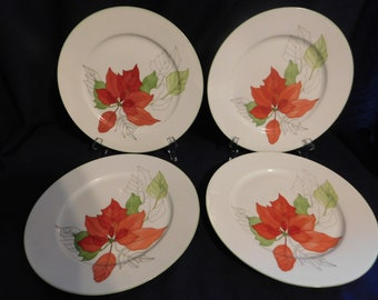 Block Spal Portugal Water Colors  Poinsettia  Dinner Plates - 4   1982-1998