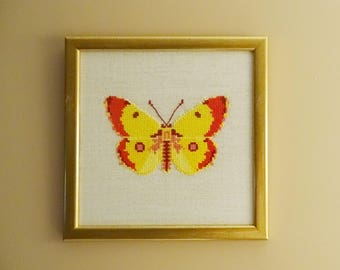 Counted Cross Stitch Painting Completed Framed or Unframed : Yellow Red Butterfly