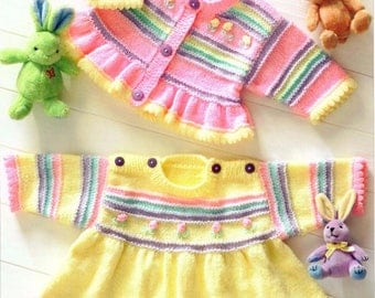 Baby Girls Frilled edge Dress and Jacket Premie vintage knitting pattern -Immediate download