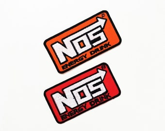 NOS Nitrous Oxide System embroidered iron on patches appliques 2 Pcs