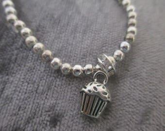 Cupcake charm bracelet silver tone diamante detail