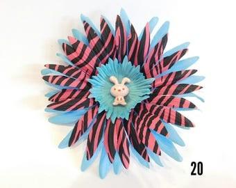 Glitter Bunny Pink & Blue Hair Clip