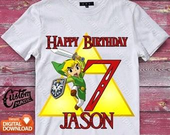 Zelda Iron On Transfer, Zelda Birthday Shirt DIY, Zelda Shirt Designs, Zelda Printable, Zelda, Personalize, Digital Files