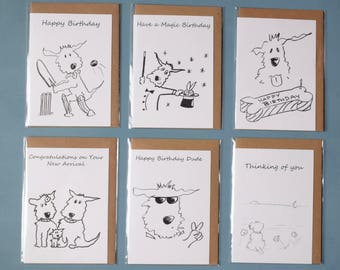 6 Greetings Cards .Assorted ,blank ,Dogs ,Funny,Birthday Card ,Cricket,Birth ,Thinking of you,Magic