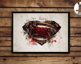 Superman logo print wall art home decor poster