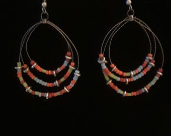 Vintage silver tone beaded earrings