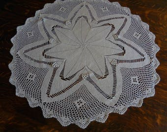 Vintage Handmade Crocheted Doily Ivory Large Round Size
