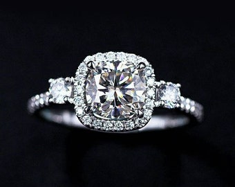 Halo Trinity Moissanite Engagement Ring