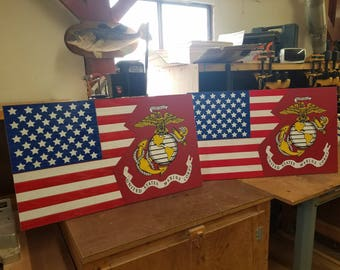 Wooden/ hand painted  US Marine Flag