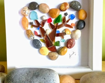 Pebble heart, sea glass tree, beach art, heart picture, fossils, shells, sea plastic, gift, unique gift, home decor art.