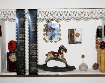 Assemblage Box, antiques and found objects artwork
