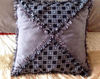 Fleece no sew tied decorative pillow, cushion, large, square, gray, black