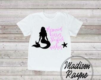 Mermaid Kisses in Pink, Nautical Tshirt, Girls tshirt, girls clothing, kids gift, nautical kids clothing