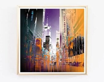 Art Print Pop Art New York - Home Decoration - Times Square NYC - Art Print - Digital painting - New York street art graphic