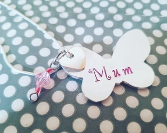 Personalised butterfly charm can be made as a keyring/bag tag or necklace