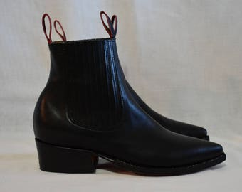Black Cowboy Boots, Low Cut, handmade boot, leather