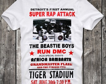 T-Shirt Detroit Super Rap Attack Poster Beastie Boys Run DMC White Distressed Retro Vintage 80s cult