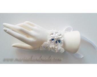 Wedding Wrist Cuff, Lace Wrist Corsage, Wrist Cuff with Swarovski Crystal, Crystal Cuff 3090