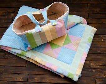 """Kids patchwork blanket. Baby blanket. Baby quilt. Kit. 43"""" х 29"""""""