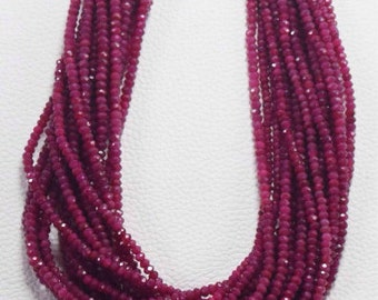 30% Discount Ruby Beads Strand AAA Quality Faceted Rondelle Beads 4 MM Size 13 Inches Strand
