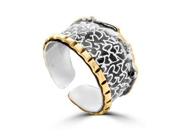 Oxidized Sterling Silver, Gold Plated and Hand Carved Adjustable Ring