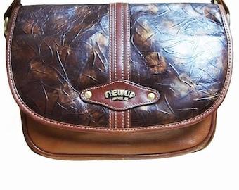 Fiber Street VINTAGE! beautiful leather art! vintage 80s amazing leatherand design bag