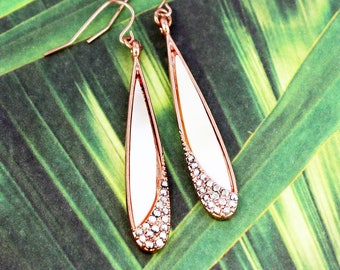 Mother of Pearl Shell and Rhinestone Teardrop Earrings
