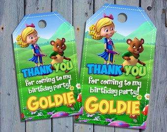 Goldie and Bear Birthday Thank You Tags, Goldilocks Favor Tag, Bear Printable, Gold Bear Digital Labels, Goody Bag Tags, Hang Label Tags