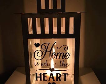 Large 'Home is where the heart is' Lantern