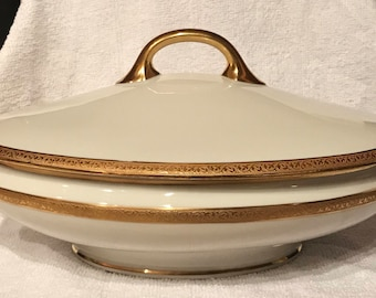 Vintage Charles Martin china oval vegetable bowl with lid gold trim