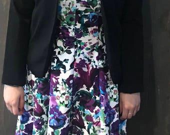 Purple Floral Dress with Blazer