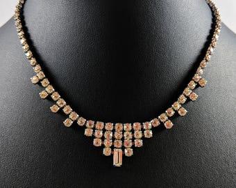 Vintage Jewellery 1950's Clear Crystal Rhinestone Diamante Choker NECKLACE