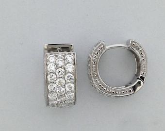 Sonia Bitton Cubic Zirconia Hoop Earrings 925 Sterling Silver