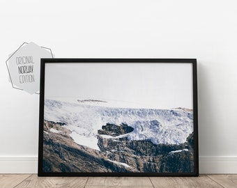 Scandinavian Print, Snowy Mountains, glacier with ice, Norway photography, Nordic, wall deco, digital download