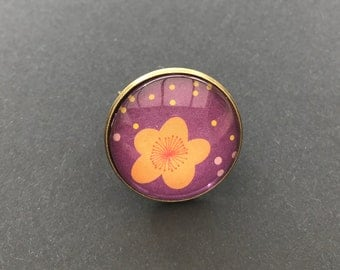 Glass cabochon 25mm Adjustable ring