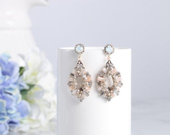 Crystal love light peach teardrop earrings