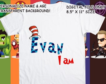 Dr Seuss Cat In The Hat Printable Iron On Transfer - Custom Personalized T-Shirt Decal Design - Digital File - Personalize