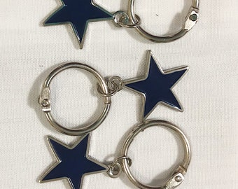 Set of 3 Navy Blue Star Charms