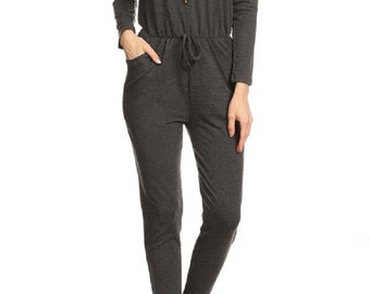 Gray Leisure 100% Cotton Hoodie Jumpsuit