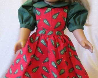 "Christmas Dress & Shoes for the American Girl Doll or any other 18"" Doll"