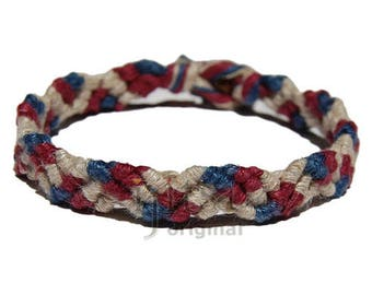 Natural, burgundy and dark blue hemp Snake bracelet or anklet
