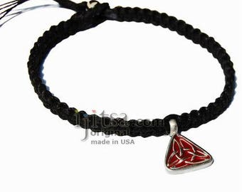 Black Hemp Wide Surfer Style Choker Necklace with Celtic Triangle Pewter Pendant