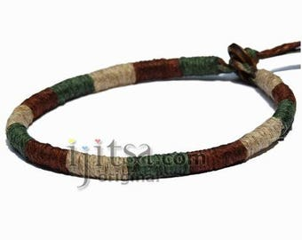 Leather Bracelet or anklet wrapped with Brown, Pictachio and Natural hemp