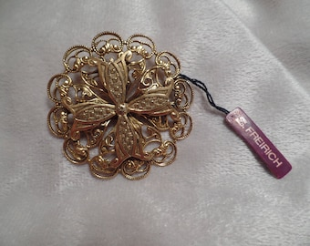 Victorian Revival Style Brooch Signed Freirich with Original Hang Tag