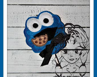 Blue MoNSTER eating a COOKiE Sucker Cover Lollipop Candy ~ In the Hoop ~ Downloadable DiGiTaL Machine Emb Design by Carrie