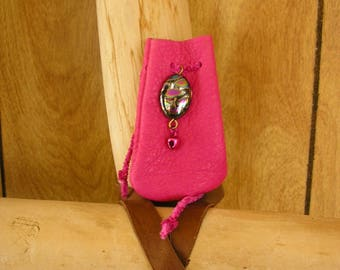 "Pink leather drawstring pouch with Czech bead, pink bell and drawstring, 3"" x 1 1/2"", talisman bag"